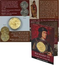 REPRODUCTION Medieval Coin Richard III gold plated ANGEL in info card [R3ACP]