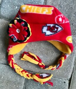 Kansas City Chiefs Fleece Hat Beanie Braids Newborn Baby Girls Children & Adults