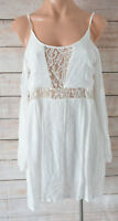 INDIKAH Top Size Medium 10 12 white lace off cold shoulder boho blouse tunic