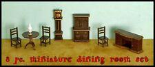 8 pc. MINIATURE DOLLHOUSE DINING ROOM SET 1/4 Scale 1:48 TINY SHADOW BOX DIORAMA
