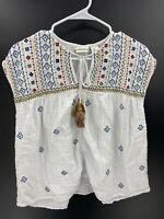 Rachel Zoe Womens Size Large 100% Cotton White Pattern Tie Front Sleeveless Top