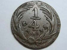 MEXICO 1/4 REAL 1833 A OVER SMALL A COPPER RARE SCARCE BRONZE