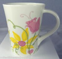 "STARBUCKS 13 oz Spring Flowers Coffee Mug Pink Yellow Green Floral 4.5"" 2006"