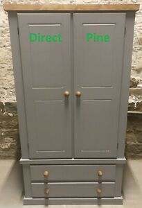 TRUSTED ON LINE SINCE 2009 HANDMADE GENTS 2 DRAWER WARDROBE NO FLAT PACKS