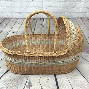 Vintage Moses Basket Bassinet Wicker Baby Bed Portable Handle Hood Tan Pink Blue