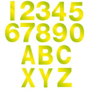 80mm Vinyl Hi Vis Numbers Letters Self Adhesive Sticker Wheely Wheelie Bin House