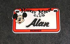 Vintage Walt Disney Prod. Mickey Mouse Club Name Alan Plastic License Plate