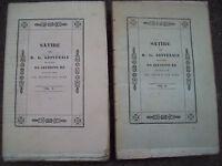 1838 SATIRE DI GIOVENALE DI ZEFIRINO RE DA CESENA LETTERATURA LATINA. DUE VOLUMI