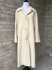 Mayfair 100% Cashmere Coat Ivory White Beige Long Womens Made in USA L M