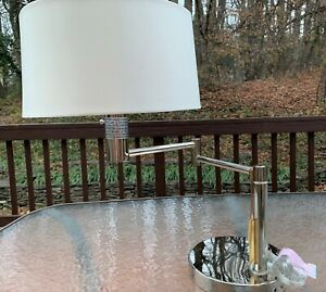 Ralph Lauren Adjustable Swing Arm Silver Table Lamp, Desk lamp For Home Office