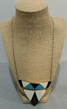 """Costume Jewelry Necklace Black White Blue Geometric 22"""" Long Lobster Clasp Retro"""