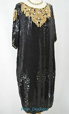 A Pea In The Pod Haute Holiday Maternity Dress Beaded Sequins Silk gold SZ M VTG