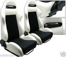 2 WHITE & BLACK RACING SEATS RECLINABLE + SLIDERS FIT FOR VOLKSWAGEN NEW *