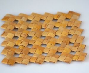 Wooden Wicker Hot Pad, Birch Bark Coasters, Rustic Style Kitchen Decor
