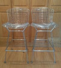 Pair (2X) Knoll Harry Bertoia Chrome Wire Bar Stools, Signed, Excellent!