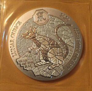 2020 Rwanda Year of the Rat 1 oz .999 silver