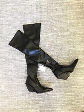 Zara Black Vegan Faux Leather Cowboy Heeled Over Knee Boots UK5 EU38 US7.5 903*