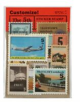 Vintage Sticker Stamps for Travelers Notebook Planner Stickers Blue Plane
