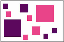 40 SQUARES boxes shapes vinyl wall art stickers decals circles Pink & violet