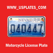 NEVADA MOTORCYCLE LICENSE PLATE TAG BIKE HARLEY DAVIDSON CYCLE VEGAS CURRENT ONE