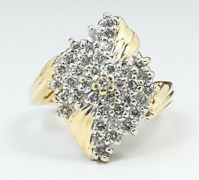 14K Yellow Gold 1.25ctw Round Diamond Accented Cluster Cocktail Ring Size 6.25