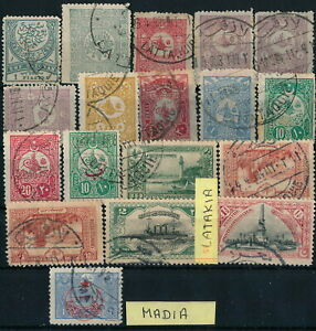 SYRIA - ATTAKIA, NICE LOT OF DIFF. OTTOMAN POSTMARKS ON STAMPS, SEE...  #M990