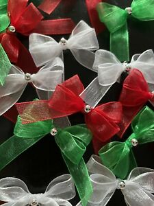 21 Small 3.5cm Red, Green & White Organza Ribbon Bows With Silver Pearl/ Xmas