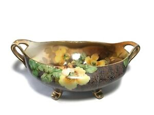 """Vintage Nippon Hand Painted Yellow Floral 12 1/2"""" x 8"""" Handled & Footed Bowl"""
