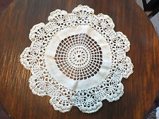 Collectible Beautiful Handmade Crocheted Doily Off White 11 Inch Shiny Thread