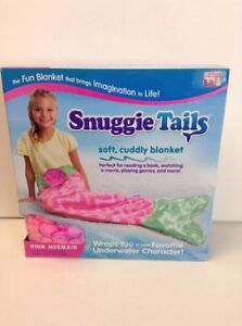 Snuggie Tails Pink Mermaid with Green Tail Cuddly Blanket 54 X 28 Inches