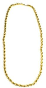 """18K GOLD PLATED Twist Rope Chain Necklace, Length - 24"""" 56.00g - C17"""