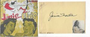 JANICE MARTIN (FEMALE ELVIS) VINTAGE 1956 IN PERSON HAND SIGNED PAGE WITH IMAGE.