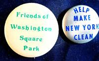 CLEAN WASHINGTON SQ & NYC  2 BUTTONS 1980'S ORIGINAL PINBACKS SCARCE