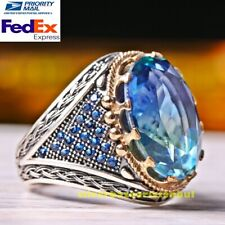 Turkish Handmade 925 Sterling Silver Tourmaline and Sapphire Stone Mens Ring