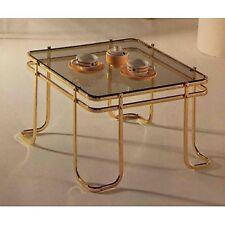 Tavolino da salotto quadrato in metallo bianco o nero con piano vetro