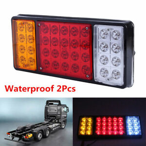 2Pc 36LED 3 Colors 12V Tail Light Rear Lamp Caravan For Truck Trailer Waterproof