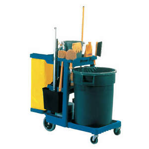 RUBBERMAID COMMERCIAL PRODUCTS FG617388BLUE Cleaning Cart,Blue,Plastic