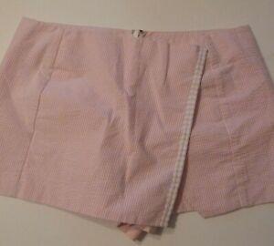 Lilly Pulitzer Seersucker Cotton Blend Back Zip Skirt Shorts Skort sz 10
