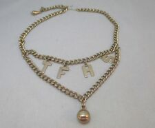 GOLD TONE CHAIN LINK LAYERED CHARM NECKLACE W/ LETTER & SPORTS BALL PENDANTS **