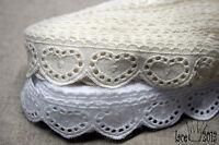 "14Yds Broderie Anglaise cotton eyelet lace trim 1.1""(2.5cm) YH1222 lacekingUSA"