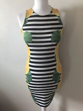 Topshop Bodycon Striped Lemon Print Dress Size 8 Midi Festival Summer