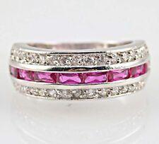 Elegant Woman Princess Cut Pink Sapphire 925 Silver Wedding Ring Size 7