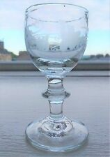 Late Georgian Gin / Liqueur Glass with Engraved Bowl & Bladed Knop Stem 9 cm