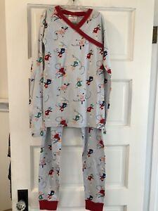 HANNA ANDERSSON lt blue Skater print organic cotton knit 2 pc pajama set size 12