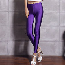 Full Length Disco Neon Shiny Glow Stretchy Tight Hot Pant Leggings Size 6-14