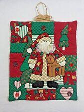 "Santa Claus Wall Hanging Fabric Applique Quilt 12"" x 11"" Reindeer Christmas"
