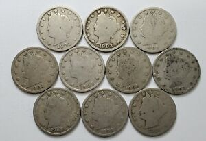 """""""About Good"""" Lot of (10) Liberty Head Nickels """"Different Dates"""""""