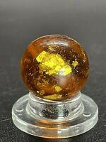 """Handmade German Marble Handmade Amber Mica Marble 0.551"""" NM-M"""