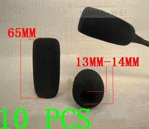 10 x Black Microphone Headset Windscreen Foam Mic Cover 65x14 mm
