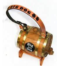 Big Ass Dog Saint St Bernard Keg Barrel Dog Personalized Leather Collar WORKS